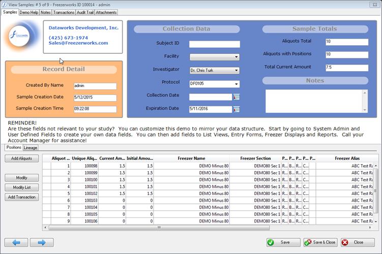 Freezerworks Base Edition   Sample Management Software